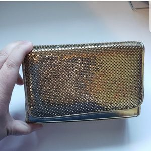 Vtg Whiting and Davis gold clutch